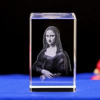 Mona lisa de cristal gravada a laser night light novelty conduziu a luz com a base de luz colorida. Presentes surpreendentes