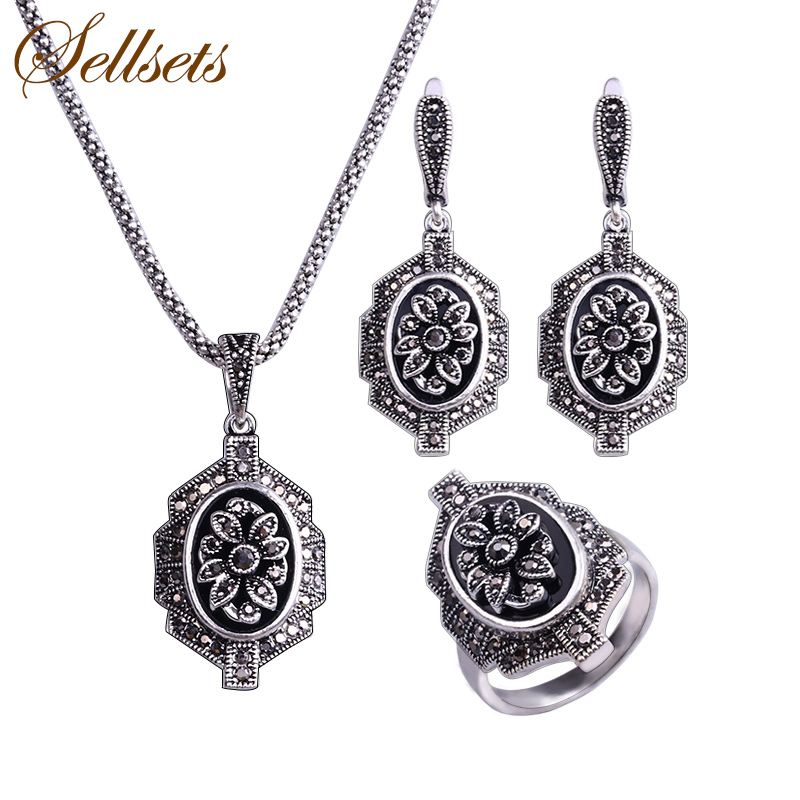 Sellsets Retro Antique Jewellery Black Rhinestone Necklace Earrings Ring Set Vintage Fashion Jewelry Sets For Women viennois new blue crystal fashion rhinestone pendant earrings ring bracelet and long necklace sets for women jewelry sets