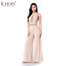 ICHOIX 2018 Women summer Fashion Sexy Jumpsuit Elegant Girls Sleeveless Straps Long Backless Solid Overal Rompers Bodysuit Women