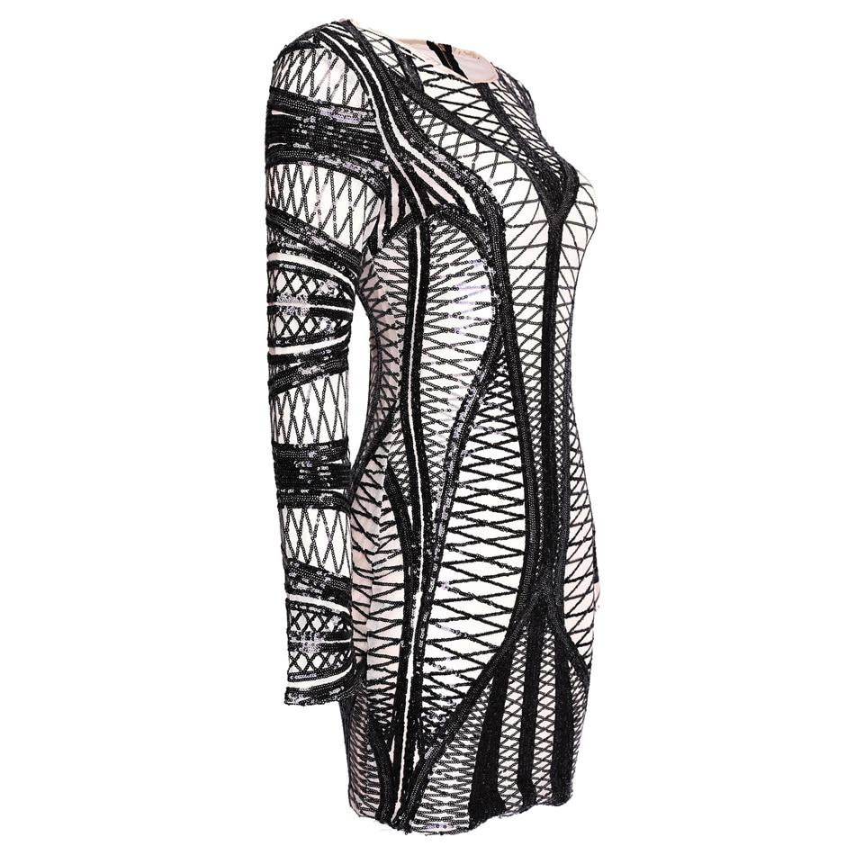 Sheer Mesh Sequin Designer Moulante Qualité Motif Club Party Robe Manches Courbe Mini Géométrique Longues S wqx4zvF4