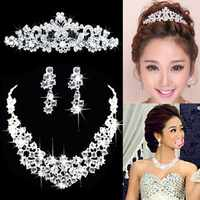 3 peças conjunto de jóias conjunto de jóias conjunto de jóias de casamento da tiara da coroa
