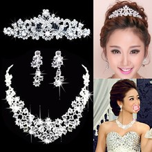 цена на Borboleta Waterdrop Prata Diamante de Cristal de Noiva 3 pcs Set Colar Brincos Conjunto De Joias de Casamento Da Tiara Da Coroa