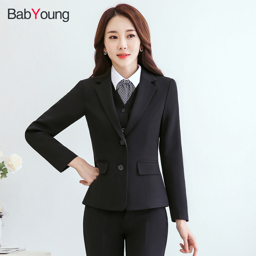 Women Business Suits Formal Office Work Pants Suits Plus Size Jacket and Trousers Female Long Sleeve Blazer Set