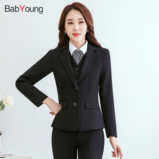 Babyoung Business Blazer Pants Suit Women S Set Office Lady Work Wear Coat Long Sleeve With
