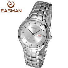 EASMAN Mens Date Day Calendar Show Sapphire Water resistant Stainless Steel Wrist Quartz Watch Watches for