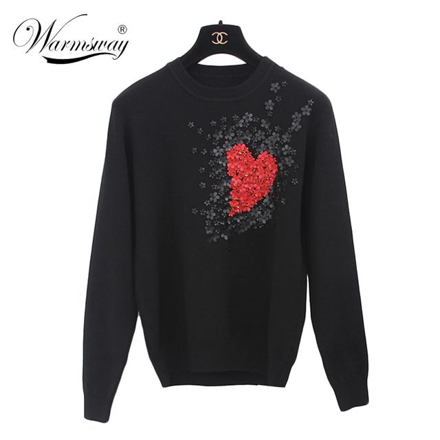 Estilo europeu Nova Queda Mulheres Winer Celebridade Estrela Flores Do Coração Doce tricô camisola Morna Casual tops WS-011