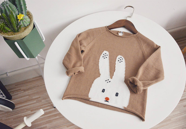 2017 Kawaii Rabbit Baby Girl boy sweater Kids Clothing Spring autumn Sweaters Toddler Knitted Pullover Clothes baby girl clothes
