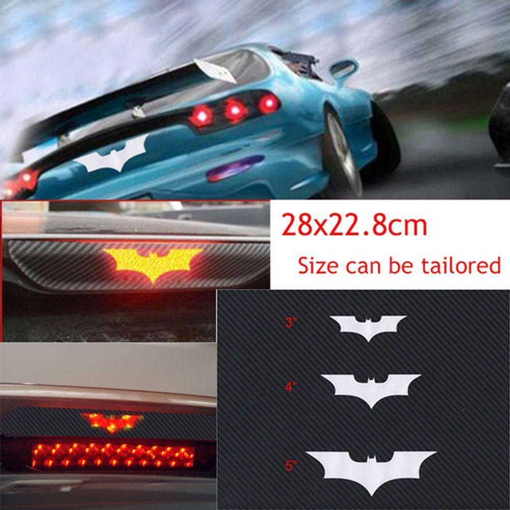 3D Black Batman Carbon Fiber Brake Tail Light Vinyl Sticker Decal Dark Knight
