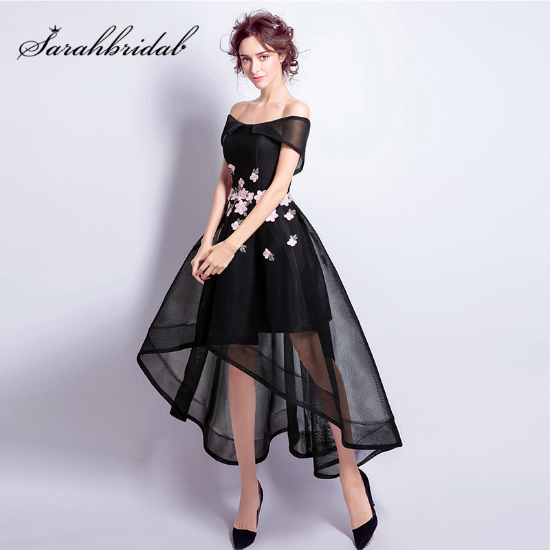 Little Black High/Low   Cocktail     Dresses   with Embroidery Tulle Off the Shoulder Knee-Length Prom Party Gowns L3453
