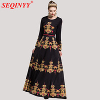 XXL Black Grace Elegant Women Dress 2018 Early Spring High End Palace Gestone Print Sashes Cultivate