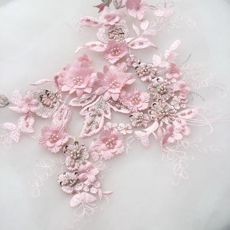 2pieceslot 3d Wedding Dress Applique Diy Bridal Headdress Ivory White Lace Collar Lace Fabric Patch Rs1357