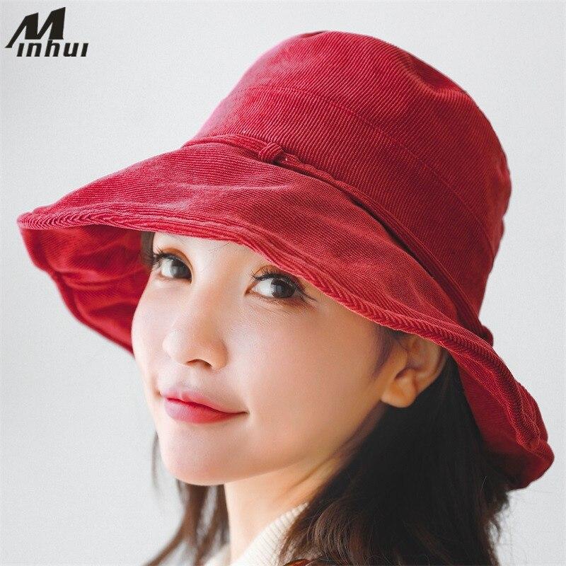 Eimer-hüte Angemessen Minhui Retro Cord Angeln Kappe Frauen Eimer Hut Casquette Gorras Fashion Solid Hüte Panama