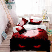 Halloween Cat Print Bedding Set Scarlet Moon Duvet Cover Set Ghost Eye Print Bed Cover Bed Sheet Festival Bedclothes 4pcs D40