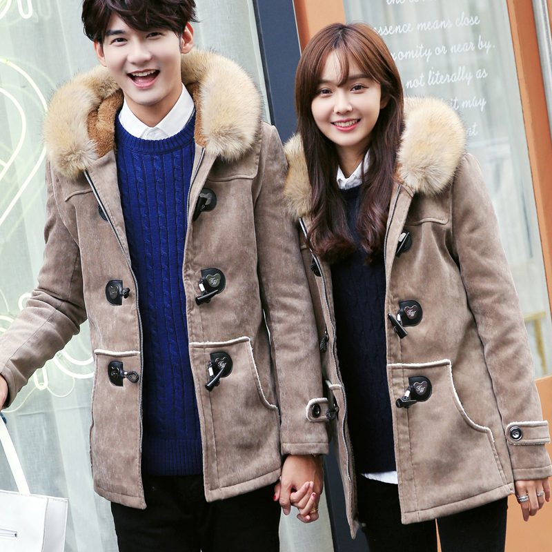 2017 Winter Couple Fur Collar Lovers Cotton-Padded Elk Leather Jacket Mens and Womens Horn button Coats