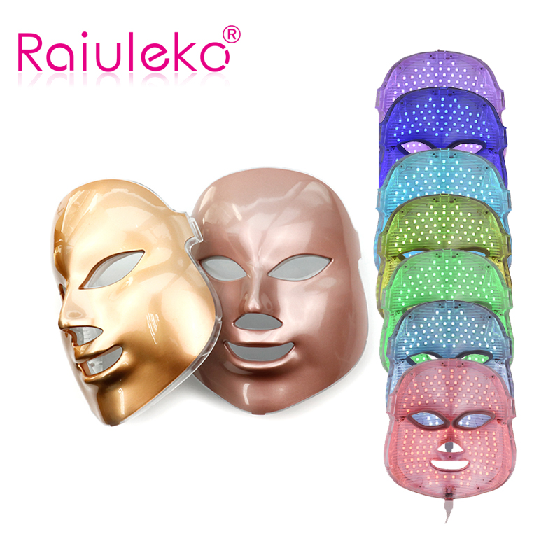 LED Masque Facial 7 Couleur Photon Électrique LED Masque Anti Rides Acné Retrait Visage Rajeunissement de La Peau Du Visage Spa Salon Visage masseur