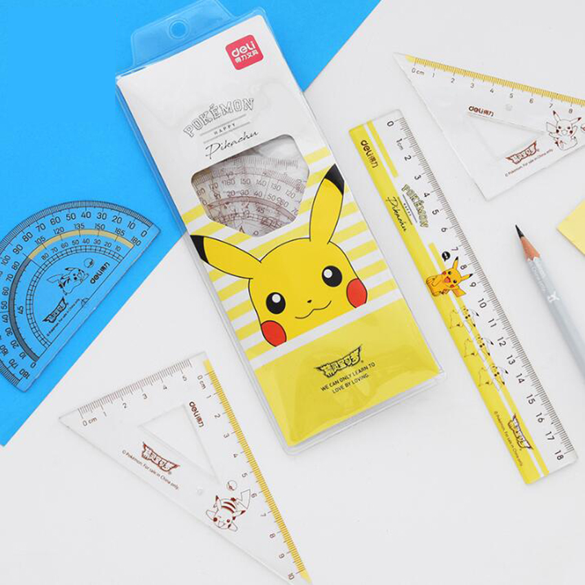 4Pcs=1 Pack Students Drawing School Supplies Set Square Ruler Protractor/four Sets Measuring Tool