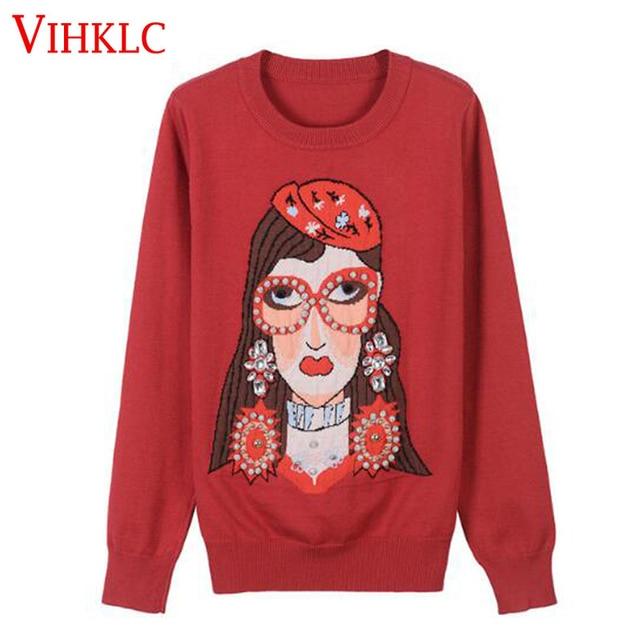 Dibujos Animados lindo Gafas chica jacquard vino rojo suéter mujeres  encantadoras Jerséis beading knitwear invierno Jumper 7b49f713dfc8