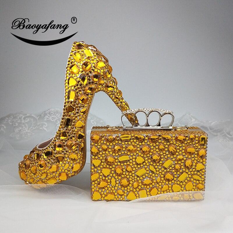 Новинка; женские свадебные туфли с сумочкой в комплекте; свадебные туфли с золотыми кристаллами; комплект из туфель и сумочки для невесты и ... - 6