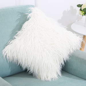 Image 1 - Soft Plush Square Cushion Cover Solid Waist Throw Pillow Cover DIY Car Sofa Home Decorative 45cm*45cm Pillow Cover