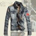 Men's Autumn and Winter Thick Denim Jacket Plus Thick Velvet Slim Stitching Denim Jacket European and American Fashion  Tide