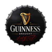 35cm Metal Tin Sign Round Beer Bottle Cap Guinness Plaque Bar Pub Club Restaurant Coffee Cafe Wall Stickers Decor