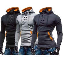 ZOGAA 2019 Hot Sale Double Breasted Sweatshirt Men Causal Solid Hooded Streetwear Wide-waisted Hoodie