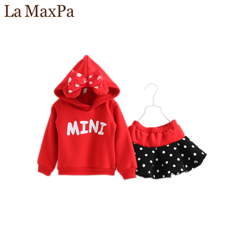 La MaxPa Fashion Autumn Winter Girl Cartoon Hoodie+Skirt Set Cotton Thick Warm Sports Suit Baby Clothes Kids Brand Clothing