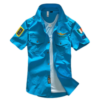 Newest Pilot Shirt With Embroidery Fashion Military Shirt Man Summer Shirt Tops
