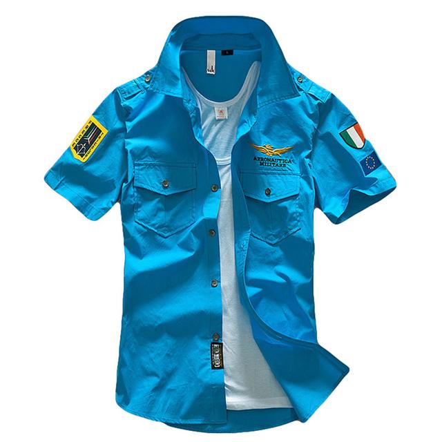 2017 asstseries aeronáutica militar camisa da marca do homem 100% algodão de luxo de manga curta homens camisa social frete grátis h266
