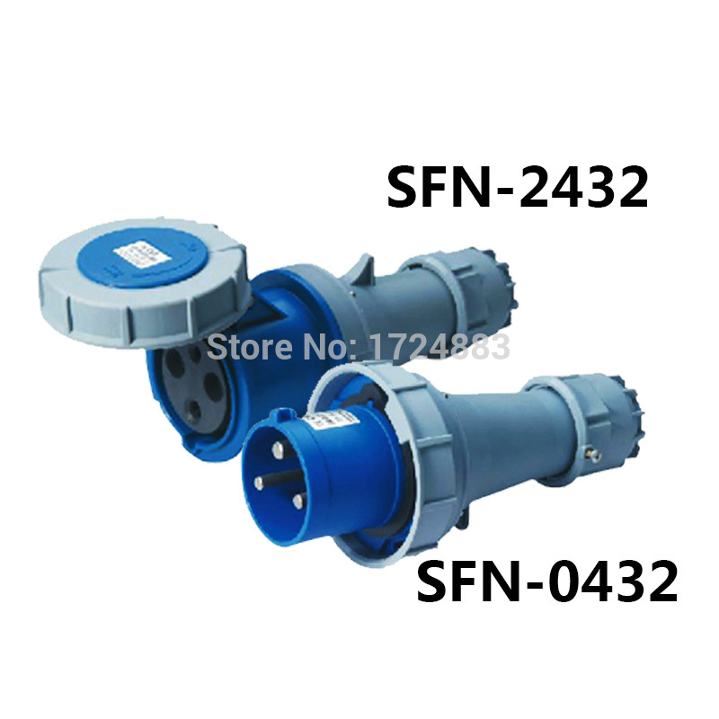 125A 3 pole connector Industrial male&female plugs SFN-0432/SFN-2432 waterproof IP67 220-250V~2P+E 32a 3 pole connector industrial male