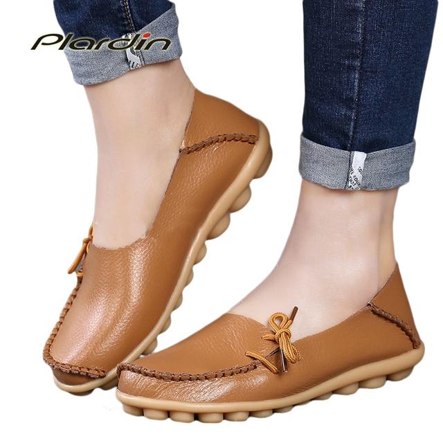 New Arrive Flats  Women Four Seasons Casual Women Shoes Woman Flat Heel Cow Muscle Outsole Fashion Flat Genuine Leather Shoes