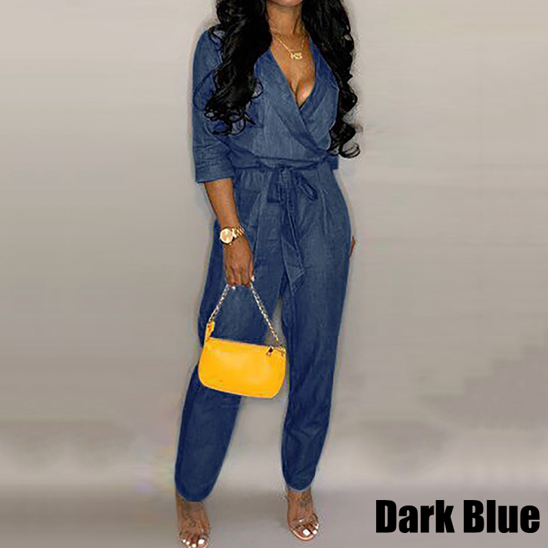 VONDA Denim   Jumpsuit   Womens Rompers Office Ladies Pants 2019 Summer Sexy V Neck Playsuit Femme Casual Overalls Plus Size S-5XL