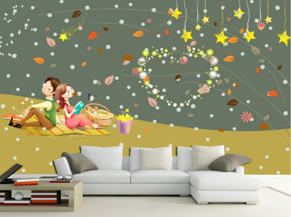 Custom large mural papel de parede,Romantic couple warm children's room wallpaper,living room TV sofa wall wall paper mural 3d custom photo wallpaper large mural wall stickers 3d stereo digital english living room tv wall papel de parede