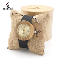 BOBO BIRD B30 Womens Vintage Wooden Gold Watches With Black Real Leather Straps Calendar Ladies Wristwatch