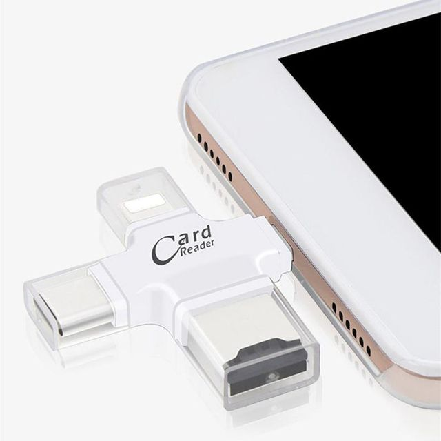 iphone usb adapter. 4 in 1 type c micro usb adapter sd card reader for iphone ipad iphone