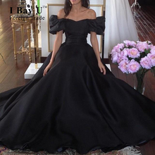 Puffy Sleeves Black Satin Bridal Gowns 2016 Gothic Black Wedding Dresses Sweetheart Puffy Short Sleeves Sexy Bridal Gowns