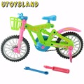 UTOYSLAND Large Simulation Kids Plastic Colorful Bike Bicycle DIY Assembly Toys with Repair Tools