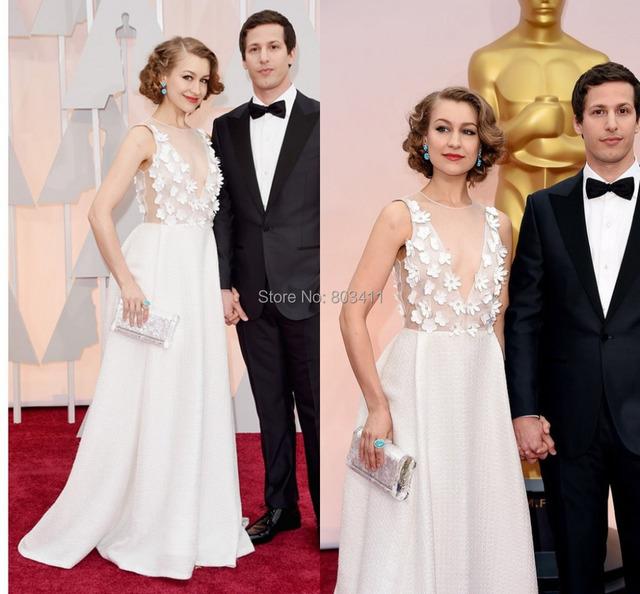 Sexy A linha ver através V - pescoço feitas à mão flores 87th Oscars Red Carpet Celebrity Dresses