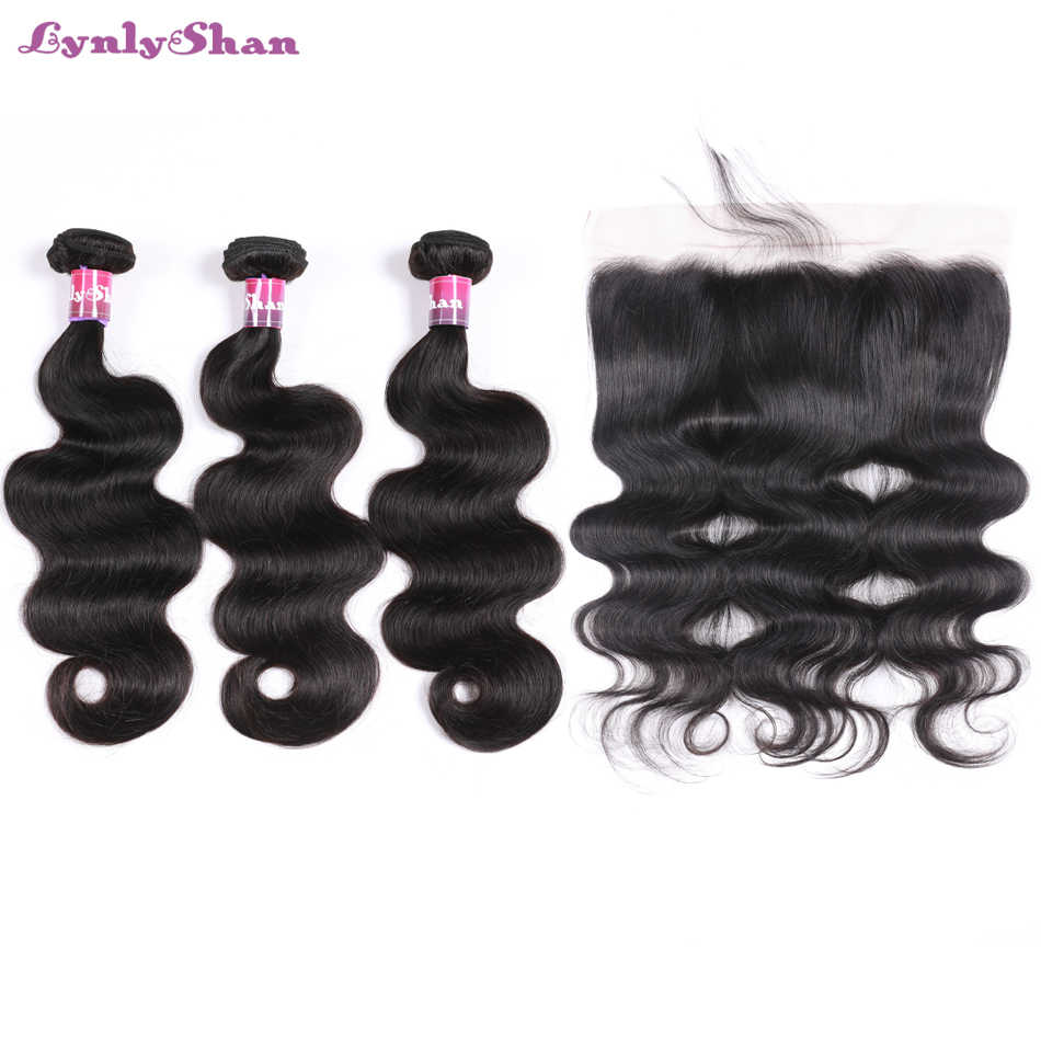 Lynlyshan Hair Human Hair With Lace Frontal 100% Remy Hair Malaysian Body Wave 3 Bundles With Hand tied 13*4 Frontal