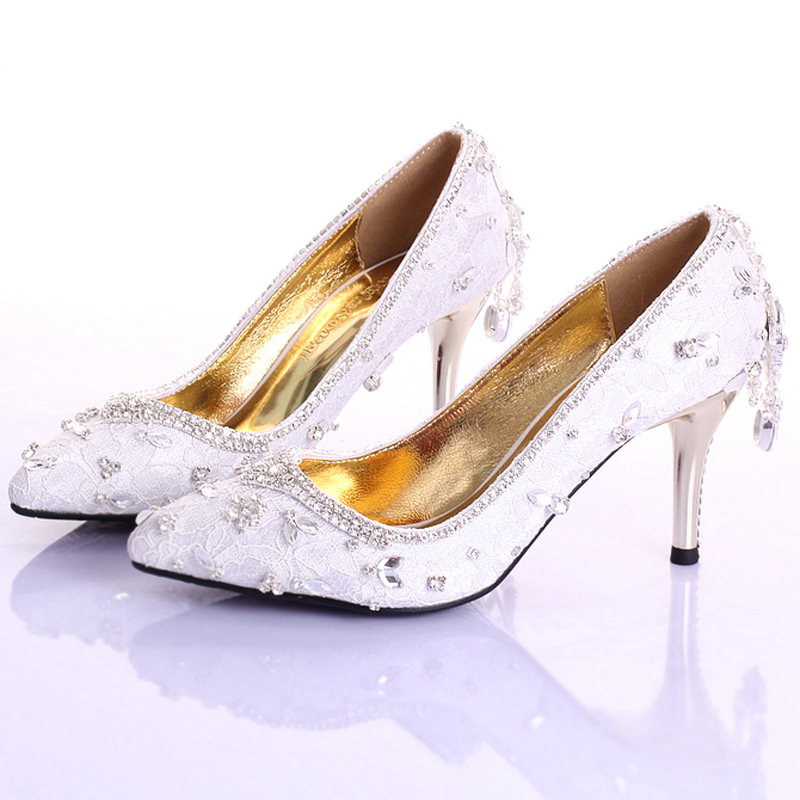 Handmade White Lace Red 7cm Middle Heel Formal Shoes Rhinestone Bridal Shoes Elegant Pointed Toe Stiletto Heel Bridesmaid Shoes fashion white elegant stiletto heel toe with rhinestone wedding bridal shoes platforms comfortable pumps round toes