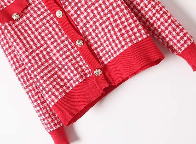 Autumn Spring Women Knit Sweater Skirt Set Long Sleeve V Neck A Line Skirt Set Casual 2 Piece Set Mini Plaid Skirt Set