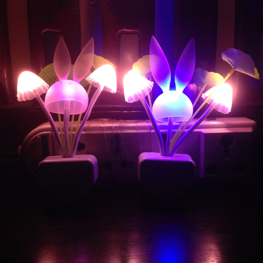 Thrisdar Rabbit Mushroom LED Night Light EU Plug Light Sensor Wall Socket Light Children Baby Kids Bedside Mushroom Night Light
