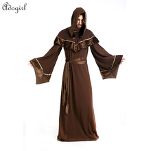 2016 Rushed Promotion Adult Deluxe Qaulity Gothic Dark Sorcerer Warlock Wizard Witch Halloween CostumeEaster carnival Day(China)