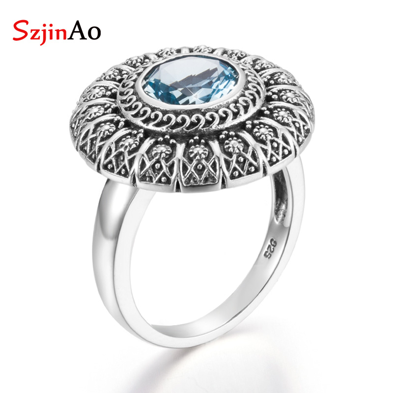 SzjinAo Handmade Round Aquamarine Rings March Birthstone Crystal Solid 925 Sterling Silver Luxury Fine Jewelry Men Accessoires
