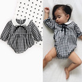 Baby Rompers 2017 New Summer Style Baby Girls Clothes Cotton Plaid Print New born Clothes 4-24months Kids Jumpsuit