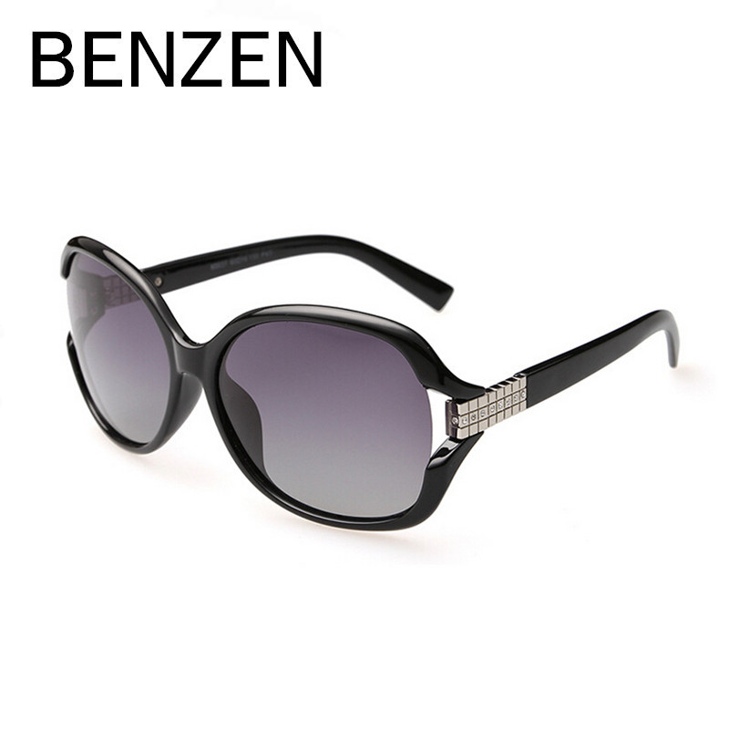 BENZEN Polarized Sunglasses Women  Rhinestone Female Sun Glasses  Black Oculos De Sol Feminino  Gafas De Sol With Case 6046