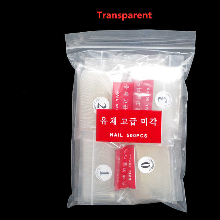 500pcs/Bag  Nail Art Tips Transparent/Natural False Coffin Nails Art Tips Flat Shape Full Cover Manicure Fake Nail Tips