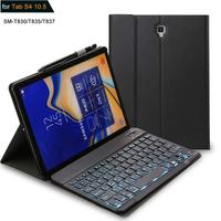 Backlit Keyboard Case For Samsung Galaxy Tab S4 10.5 SM T830 Case Russian Spanish Keyboard Case T830 T835 SM T830 Cover Funda