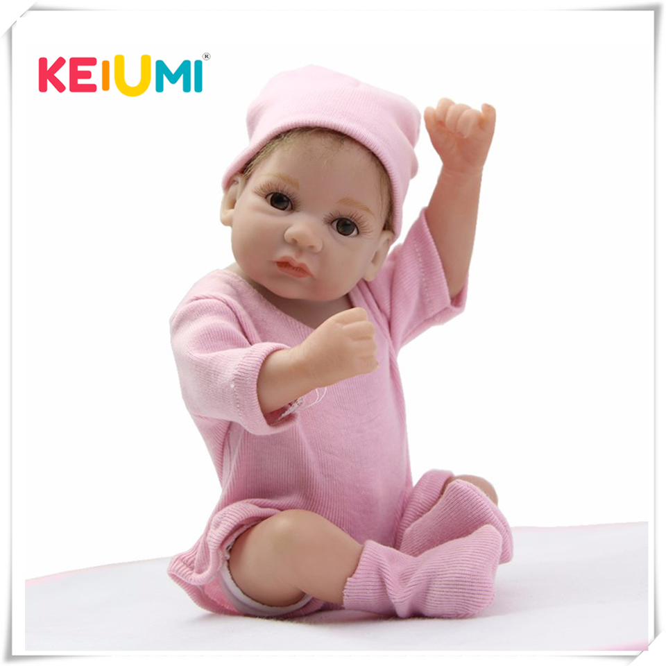 Mohair Rooted 10 Inch Tiny Reborn Baby Doll Girl Realistic Full Silicone Babies Dolls Wearing Pink