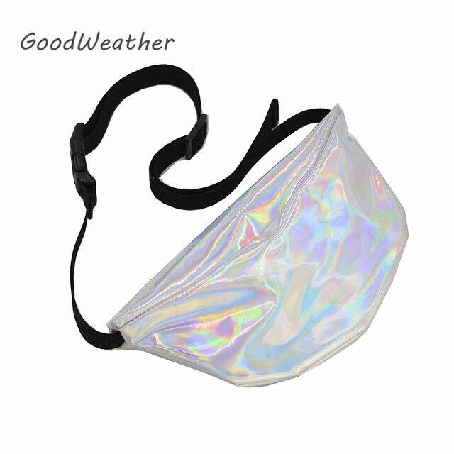 Fashion holographic bag belt women designer waist pack for woman hip bag silver PU leather waist packs laser bum belt bags